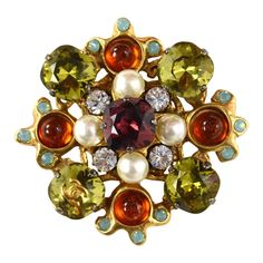 CHANEL Multi-Color Crystal & Pearl Brooch | From a unique collection of vintage brooches at https://www.1stdibs.com/jewelry/brooches/brooches/
