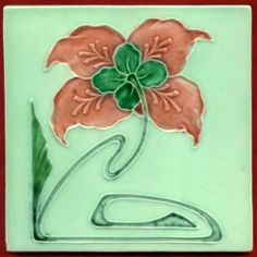 Jugendstil Fliese Kachel Art Nouveau Tile Tegel Schmider Blume Rot Red Flower | eBay