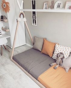 Kids room inspiration featuring our fav Tipi bed which comes with or without slats Oh and shall we talk about the natural / earthy tones of this room? Ive tagged both the single and toddler sizes here so there easy to find just tap to shop .