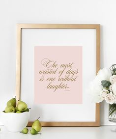 """Laughter Quote Print 8x10 Inspirational Artwork Typography Home Decor Nursery Wall Art Bedroom Poster. This inspirational quote is a typography wall print perfect as nursery decor, bedroom or home wall poster. Reminds us to enjoy every day and laugh everyday! Dimensions 8""""x10"""" Prints do not come framed. Images are just for example. PRODUCT SKU#DBM187 ."""