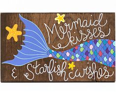 Mermaid wood sign, mermaid painting, mermaid art on wood, mermaid quote, rustic mermaid sign, nautical nursery art  This hand painted rustic wood sign features a colorful mermaid tail and the quote Mermaid hair, dont care. The end of the fin is purple. The mermaid tails scales are outlined with black ink and three orange and yellow starfish surround it. The quote is written in a bright white paint.  This would look super cute in a childs nursery and would make a great gift!  Size…