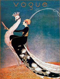 Vintage Poster - Vogue Art Deco Peacock - Fashion