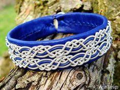 Tjekijas Lapland Sami Bracelet MUNINN Nordic Viking Jewelry in Blue Reindeer Leather with Pewter Silver Braids - Handmade Natural Elegance.