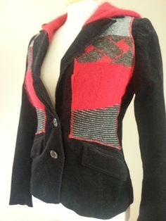 Interesting way to Jazz up a Jacket with old sweaters! Up-Cycled Black Corduroy Blazer with Wool by HipChickDesignsShop