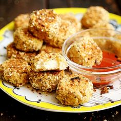Breaded cauliflower nuggets are a great meatless substitute for chicken nuggets.