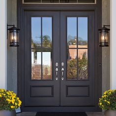 double front entry doors We will be looking into exterior door design ideas, after all, theyre the welcoming point to your home. Get going and check the exterior door design that. Double Front Entry Doors, Wood Front Doors, Front Door Entrance, Door Entryway, Exterior Front Doors, House Front Door, Glass Front Door, Patio Doors, Black Front Doors