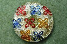 Czech Glass Button 31mm - hand painted - uranium/vaseline glass, gold, yellow, blue, red (B32069)
