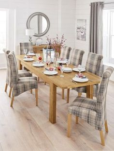 Set Of 2 Harlow Versatile Check Nevis Grey Dining Chairs from Next