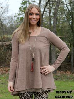 Ex's and Oh's Flare Tunic with Chiffon Layer in Mocha www.gugonline.com $34.95