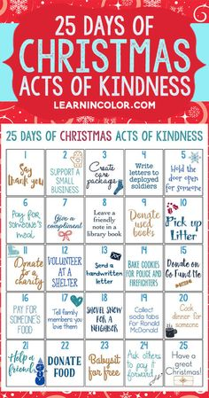 Get into the Christmas spirit of giving with this 25 days of Christmas acts of kindness challenge! Teach kids about giving and serving while doing a Christmas countdown. christmas 25 Days of Christmas Acts of Kindness: Free Printable 25 Days Of Christmas, Noel Christmas, Christmas Games, Christmas Countdown, Winter Christmas, Christmas Challenge, Christmas Budget, Christmas Advent Ideas, Kids Christmas Gifts