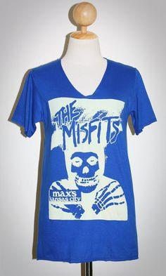 MISFITS Blue V-neck Indie Horror Punk Rock Women T-Shirt Size S