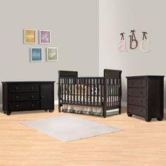 Graco Cribs 3 Piece Nursery Set - Sarah Convertible Crib, Portland Combo Dresser / Changer and Portland 4 Drawer Dresser in Espresso