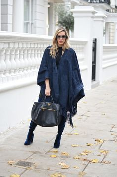 Velvet Over The Knee Boots, Velvet Boots, Navy Blue Boots,  Suede Poncho