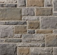 With the look of hand-crafted stone, Brampton Brick's Artiste gives any home or business elegance, with a variety of sizes, lengths and colors available to combine into a look uniquely yours. Grey Stone, Hardwood Floors, Brick, Marble, New Homes, House Design, House Exteriors, Gray, Ideas