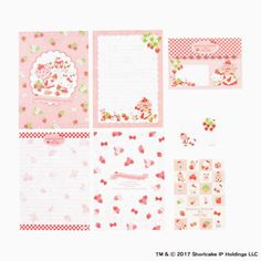 Hello-kitty-x-Strawberry-Shortcake-Letter-set-with-case-Limited-From-Japan