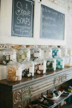 Handmade soap & bath luxuries from Bathhouse Soapery, a boutique shop in Hot Springs, Arkansas. Hot Springs store located in historic downtown on Bathhouse Row. Shave Soap display. $7 Soap shop store