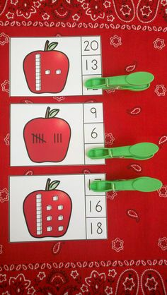 Fun Apple Themed Clip Card Activities for Your Little Learners!  $   #apples  #fall  #autumn #numerals #clipcards #numeralsto20 #farm #kampkindergarten #tallymarks #MABblocks https://www.teacherspayteachers.com/Product/Apple-Number-Fun-Math-Centers-2097959