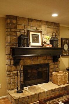 fireplace design ideas 35 photos i like the dark color and shape of mantle on - Stone Fireplace Design Ideas