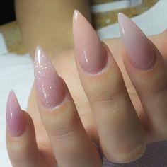 pink shiny stilleto nails