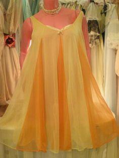 VANITY FAIR Vintage Nightgown ORANGE YELLOW Nylon Sissy Gown Retro Lingerie M L Vintage Nightgown, Vintage Gowns, Nighties, Nightgowns, Vintage Style, Vintage Fashion, Backless Bra, Vintage Underwear, Retro Lingerie