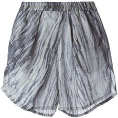 Vanessa Morin tie-dye pleated shorts ($410) ❤ liked on Polyvore featuring shorts, bottoms, grey, tie-dye shorts, gray shorts, tie die shorts, grey shorts and pleated shorts