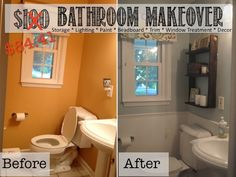 Bathroom Makeovers On The Cheap bathroom, decor ideas, makeover, before-after, blue, white
