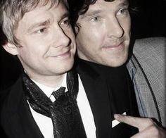 Martin Freeman and Benedict Cumberbatch being cute and all cuddley I'm going to die :) <3
