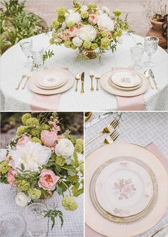 vintage style wedding china from Pretty Vintage Table, wedding photos by Anna Delores Photography