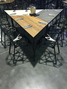 Our Trends 16/17 collection's slogan: Fusion of Wood, Stone and Metal! is perfectly depicted by the trapezoidal modular #tables we made out of our #designs!  #Kronospan #Kronodesign #trends1617 #modulartables #diningtables #geometric #wood #stone #metal #teak #pietra #aluminium