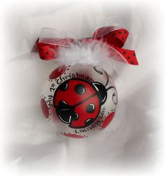 Personalized MoD pink black or red black Ladybug Christmas ornament Hand Painted glass ball. $14.99, via Etsy.
