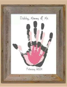 """""""Daddy, Mommy & Me"""" framed overlapping handprints make a perfect wall decoration to hang in your nursery <3"""