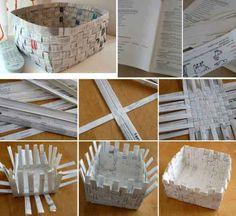 As cestas decoram, organizam, mas nem sempre tem preços acessíveis. {DIY} Paper Basket Tutes and Linksmulti-purpose basket from 4 200 Cheap And Easy Dollar Store Crafts That You canUse The Old News Papers To Make Beautiful Useful B Paper Basket Diy, Newspaper Basket, Newspaper Crafts, Diy Paper, Recycled Magazines, Recycled Crafts, Papier Diy, Diy Y Manualidades, Diy Crafts How To Make
