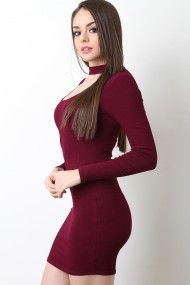 Shop This dress features narrow ribbed knit fabrication, choker mock neckline, keyhole cutout yoke, long sleeves, and bodycon fit. Tight Dresses, Sexy Dresses, Casual Dresses, Fashion Dresses, Girls Dresses, Sexy Outfits, Pretty Outfits, Girl Outfits, Girl Fashion