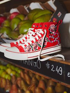 Vanina Hi Top Sneaker | Classic high-top canvas sneakers featuring bold garden-inspired embroidery on the outside and exposed zipper closures on the inside. Rubber sole with 'Ash' logo in back.