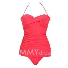$15.24 Stunning Halter Solid Color Wrapped Design One-Piece Bikini Dacron Swimming Wear For Women