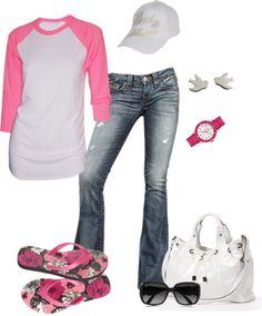 """Perfect Pink Baseball Tee"" by fun-to-wear ❤ liked on Polyvore"