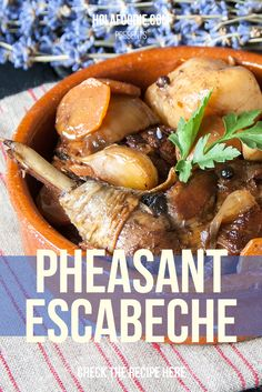 A delicious wild pheasant in escabeche recipe that you can prepare ahead of a lunch with special guests: http://holafoodie.com/recipe/wild-pheasant-in-escabeche/