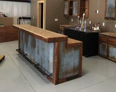 LARGE Rustic Barnwood Bar with barn tin— Dimensions Bars are tall in the back (working serving area), in the front (seating drinking area), Width base, 6 in overhang) Bar Lengths will vary depending on your specific needs see variat Rustic Kitchen Cabinets, Rustic Kitchen Design, Kitchen Decor, Kitchen Ideas, Primitive Kitchen, Kitchen Island, Rustic Design, Bar Cabinets, Barn Kitchen
