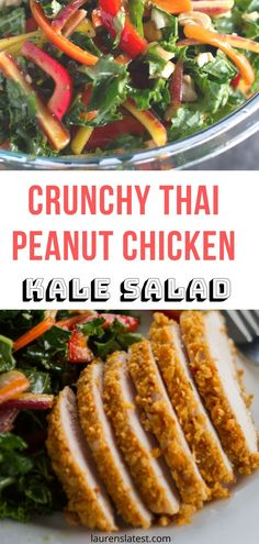 Crunchy Thai Peanut Chicken & Kale Salad - A healthy and delicious kale salad with crunchy thai peanut chicken! Lots of veggies a simple dressing all put together in a jiffy. Clean eating made fun and family friendly Kale Chicken Salad, Kale Salad, Fun Easy Recipes, Healthy Salad Recipes, Healthy Chicken Recipes, Cooking Recipes, Turkey Recipes, Thai Peanut Chicken, Food Dishes