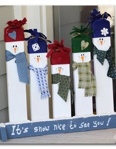 """Sugar Bee Crafts: Greeting Snowmen - make these cute snowman out of 2x4s - love this! """"I LOVE this, Snowmen are my favorite and this is just too cute!! I'll be making this for sure. Thanks for this great idea!"""" :)"""