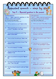 Reported speech step by step * Step 4 * questions in the present * with key - English ESL Worksheets for distance learning and physical classrooms English Teaching Materials, Teaching English Grammar, English Grammar Worksheets, English Language Learning, English Teachers, English Time, Learn English, Direct And Indirect Speech, Active And Passive Voice