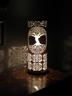 Celtic tree of life table lamp. Handmade with recycled PVC pipe.