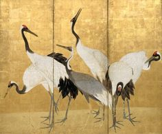 Cranes (c. 1770-72), pair of six-fold screens; colour and gold leaf on paper - Maruyama Ôkyo