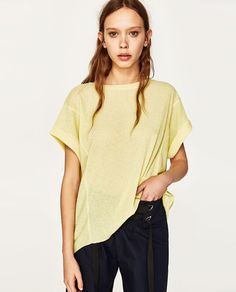 $22.90 - T-SHIRT WITH ROLLED-UP SLEEVES from Zara