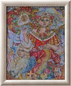 The Christmas Angel Stretched Canvas Print by Yumi Sugai at Art.co.uk