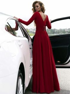 Looking for a perfect red prom dress? Here in Flosluna, you can find long sleeve red prom dress,v neck long chiffon prom dress,back button long prom dress,elegant chiffon prom gowns! Prom Dresses Long With Sleeves, Prom Dresses With Sleeves, A Line Prom Dresses, Cheap Prom Dresses, Sexy Dresses, Dress Prom, Satin Dresses, Bridesmaid Dresses, Wedding Dresses