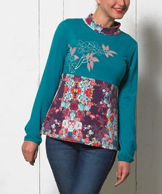 Look what I found on #zulily! Teal Abstract Mock Neck Top - Women & Plus by Coline USA #zulilyfinds