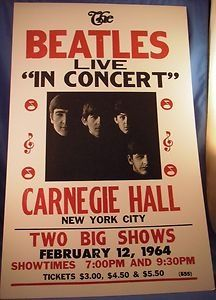 Beatles Poster for show at Carnegie Hall - Feb 11, 1964. Visit britishinvasionmusic.com for videos, pictures and articles on over 30 bands and artists from British Invasio