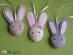 Cuki nyuszi buksik- húsvéti dekoráció (3db), Baba-mama-gyerek, Dekoráció, Húsvéti apróságok, Gyerekszoba, Varrás, Meska