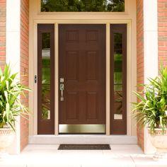 exciting modern front door ideas in dark brown color with door lever applying silver color combined